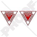 "DANGER EJECTION SEAT USAF Martin Baker 3,6"" (90mm) Vinyl Stickers, Decals x2"