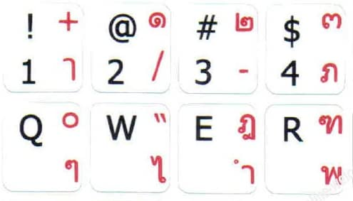 Thai-English Keyboard Stickers with Non Transparent White Background for Computer Laptops Desktop