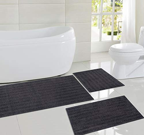 Sheen Decor Moon Stone Pure Cotton Banded Bathroom Mat | Reversible Luxury Feel Bath Rug Runner | Extra Absorbent Machine Washable Shower Mat, Pack of 3 - (17X24, 18X28 and 20X48 Inches, Charcoal)