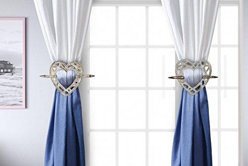 Handmade Tieback Curtains Holdback Wooden Rustic Heart Shaped Window Treatment (White) (Distressed Rustic Furniture)