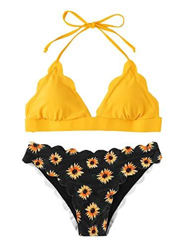 SweatyRocks Women's Sexy Bathing Suits Scallop Halter Bikini Top Floral Print Two Piece Swimsuits Yellow#2 Large