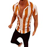 Mens Short Sleeve Shirts Hipster Striped Turn Down Collar Short Sleeve Loose Casual Tee Tops (L, Red -3)