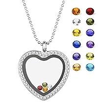 EBOETA Heart Glass Locket Pendant Necklace Memory Floating Charm with Crystal Quartz, 12 Birthstone