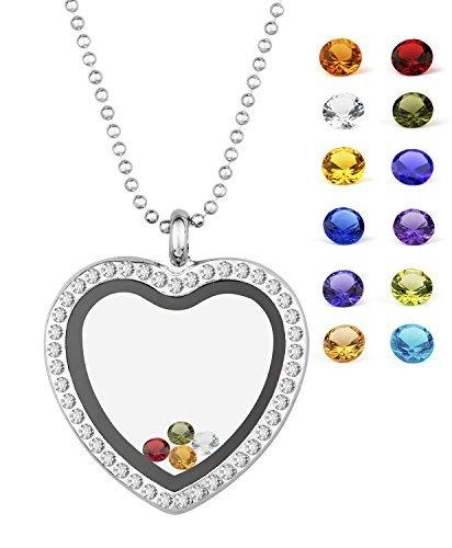 EBOETA Heart Glass Locket Pendant Necklace Memory Floating Charm with Crystal Quartz, 12 (Mothers Birthstone Heart Charm Pendant)