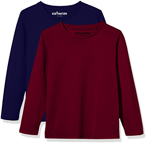 Kid Nation Kids' 2 Pack Solid Long Sleeve Crew Neck T-Shirts for Boys or Girls XS Burgundy+Navy