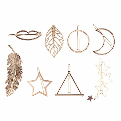 Beauty7 8PCS Women Girl Minimalist Hair Barrettes Snap On Clips Pins Bobby Ponytail Hair Styling Accessories Star Moon Triangle Circle Lips Leaf Feathers (Gold Leaf Circle Pin)