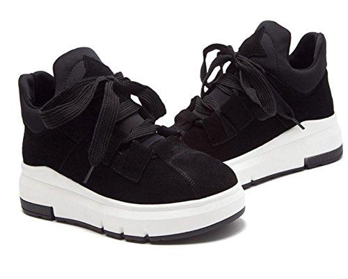 2017 nuevos zapatos de las mujeres solteras aumentaron calzado deportivo de espesor inferior marea ocio Black