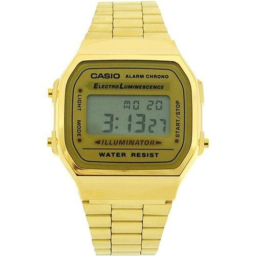 CASIO A168WG Gents-Mens Digital Chronograph Gold Tone Metal Bracelet Watch (Alarm Chronograph Bracelet)