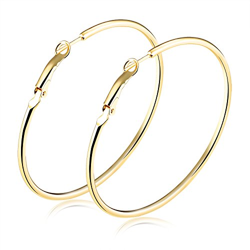 (TEMICO Fashion Women Earrings Jewelry Gold Plated Round Hoop Earrings Hypoallergenic 40mm-70mm Diameter)