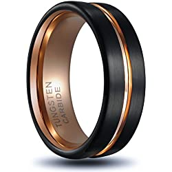 Valentine's Day Gift!Tusen Jewelry Tungsten Ring Rose Gold Plated Inlay Groove Brushed Flat Cut Edge 8mm Men's Wedding Band