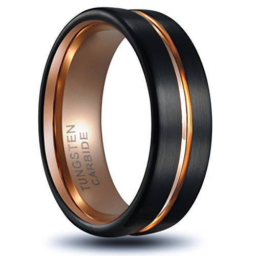 !Tusen Jewelry Tungsten Ring Rose Gold Plated Inlay Groove Brushed Flat Cut Edge 8mm Men's Wedding Band ()