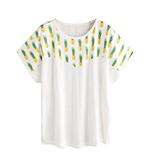 繊細こだわり教室Lutents レディースTシャツ 半袖 パイナップル柄 おもしろい コットン ゆったり 可愛い カジュアル シンプル 夏 海遊び リゾート 旅行 通勤 プレゼント