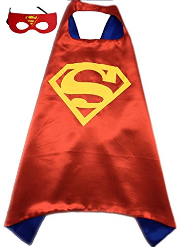 [Superhero or Princess CAPE & MASK SET Kids Childrens Halloween Costume (Red & Blue (Superman))] (Red Halloween Kids Costumes)