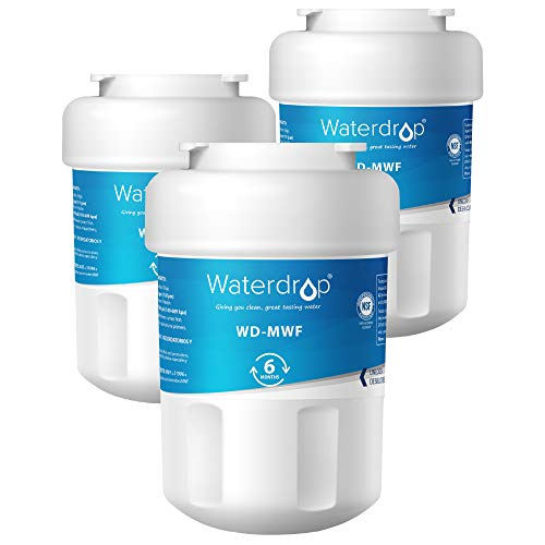 (Waterdrop MWF Refrigerator Water Filter, Compatible with GE SmartWater MWF, MWFINT, MWFP, MWFA, GWF, HDX FMG-1, GSE25GSHECSS, WFC1201, RWF1060, 197D6321P006, Kenmore 9991, r-9991, NSF 42, Pack of 3)