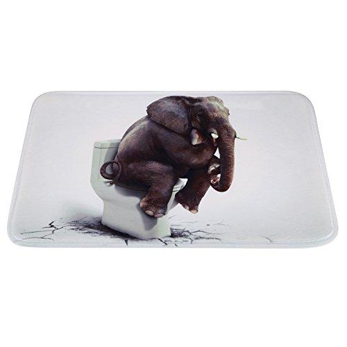 Non-Slip Large Bathroom Mat, Soft Funny Elephant Thinker Bath Rug for Children Kids Bedroom Living Room 23.2''x15.4''--Funny Elephant Thinker by Oninaa (Image #7)