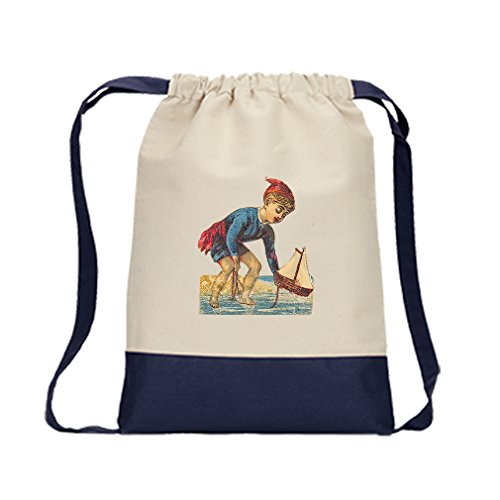 Canvas Backpack Color Drawstring Boy Plays With Toy Ship By Style In Print | Navy