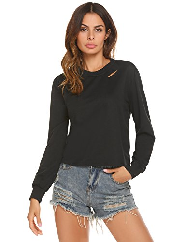 Donkap Women's Crew Neck Long Sleeve Crop Top Black M