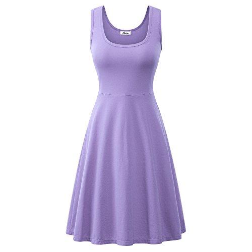 Herou Women Summer Beach Casual Flared Midi Tank Dress (Medium, Lavender)