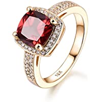 Promsup Square 8mm Garnet Red Sapphire Yellow Gold Filled Lady Women Party Finger Rings (7)