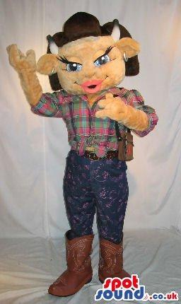 Brown Girl Cow Animal Plush SPOTSOUND US Mascot Costume Wearing Cowboy Garments (Plush Cow Mascot Costume)