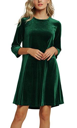 Urban CoCo Women's Velvet Party Dress 3/4 Sleeve Cocktail Dress (L, 2 Dark Green)