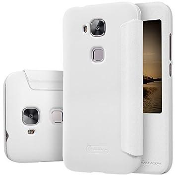 ELTD Huawei G8 flip Cover, Slim flip funda carcasa case para Huawei G8, Blanco