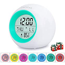 Kids Alarm Clock[2020 Version] , Student Wake Up Digital Clock for School, 7 Color Changing Night Light Clock for Boys Girls Bedroom, Children's Clock with Indoor Temperature, Touch Control and Snooze