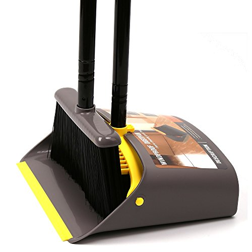 "TreeLen Dust Pan and Broom/Dustpan Cleans Broom Combo with 40""/52"" Long Handle for Home Kitchen Room Office Lobby Floor Use Upright Stand up Dustpan Broom Set"