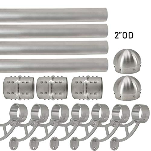 Top Hardware Solid Bar Mount Foot Rail Kit (Custom-Made), Brushed Stainless Steel Tubing (2 in OD, 30 ft =360 in Long) w/Internal Connector, Bar Mount Foot Rail Bracket, Domed End Cap