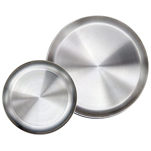 Immokaz Matte Polished 80 Inch 304 Stainless Steel Round Plates Dish Set For Dinner Plate Camping Outdoor BPA Free Pack Of 2