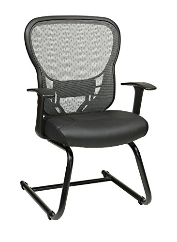 SPACE Seating R2 SpaceGrid Back and Padded Eco Leather Seat, Adjustable Lumbar, Fixed Arms and Sled Base Visitors Chair, Black (Black Eco Leather Chair)