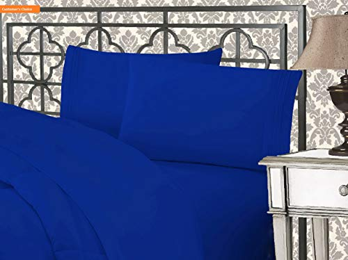 Mikash New Soft Luxurious 1500 Thread Count Egyptian Three Line Embroidered Softest Premium Hotel Quality 4-Piece Bed Sheet Set, Wrinkle and Fade Resistant, Full, Royal Blue | Style 84597180