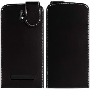 Cuero del tirón del caso de la cubierta protectora para el HTC Desire 500 Smartphone (color: negro)