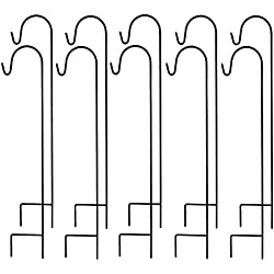 Ashman Black Shepherd Hook 48 Inch Tall 10 Pack, Solid Steel Hooks Ideal For Hanging Wind Chimes, Solar Lights, Lanterns, Bird Feeders, Light Baskets and Wedding Decor