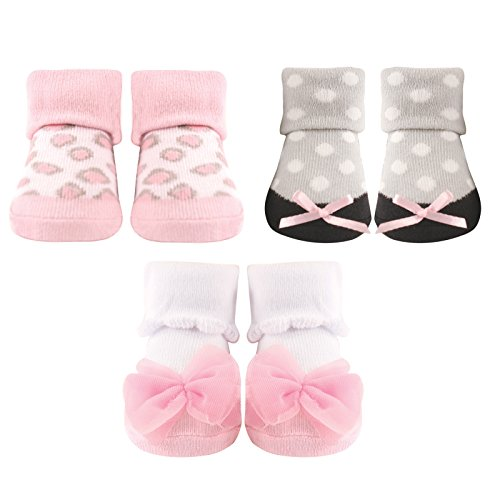 Luvable Friends 3-Pack Little Shoe Socks Gift Set, Pink Leopard, 0-9 Months