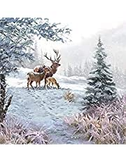 "Ambiente paper lunch napkin, Deer Family, 20 pack, 6.5""x 6.5"" folded"