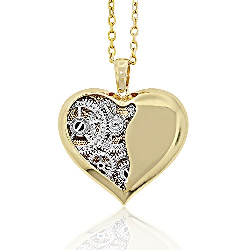 Steampunk Sterling Silver Clock Heart Pendant