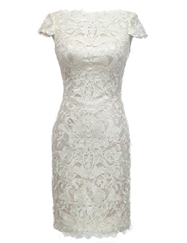 HarveyBridal Lace Wedding Dress Knee Length Short Sleeves Bridal Gown Ivory