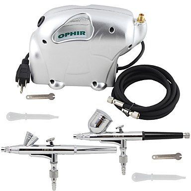 HJLWST OPHIR 2x Dual Action Airbrush Kit 0.2mm & 0.3mm with Mini Air Compressor