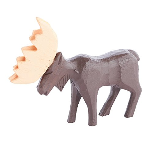 Judy's Stone House Design Package of 3 Miniature Hand Carved Wood Moose Figure for Kids Crafting, Holiday Embellishing and Creating
