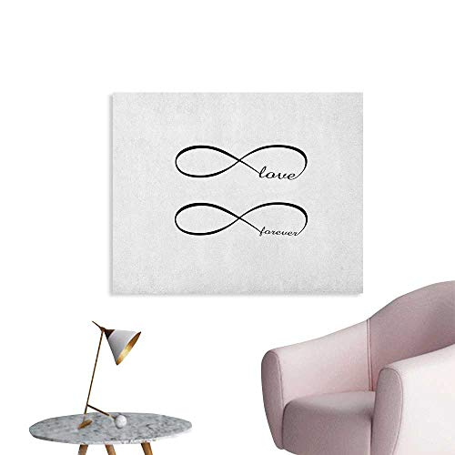 (Anzhutwelve Love Art Decor Decals Stickers Infinity Symbol with Monochrome Design Forever Love Theme Abstract Vintage Valentine The Office Poster Black White W36 xL24)
