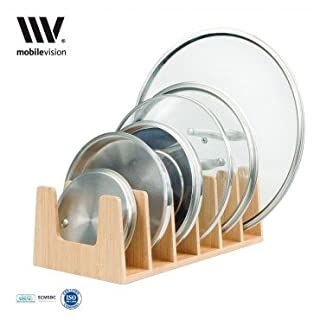 MobileVision Bamboo Pot Lid Holder Organizer