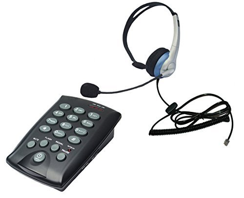 (Voistek Call Center Dialpad Headset Telephone with Tone Dial Keypad and Mute Redial Flash Button + Mono Headset with Noise Cancelling (K10CHT800))