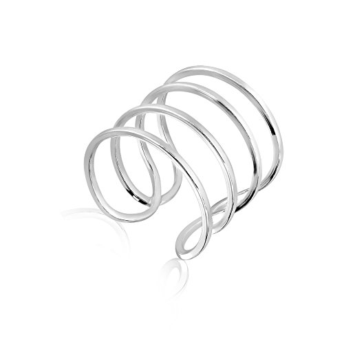Rhodium Plated 925 Sterling Silver Modern Thin Lines Simple Modern Wide Statement Ring Sizes 5- 6 - Rhodium Plated Classic Line