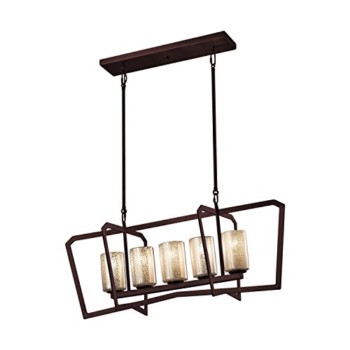 Fusion - Aria 5-Light Island Intersecting Chandelier - Cylinder with Flat Rim Artisan Glass Shade in Mercury - Dark Bronze (Fusion Transitional Chandelier)