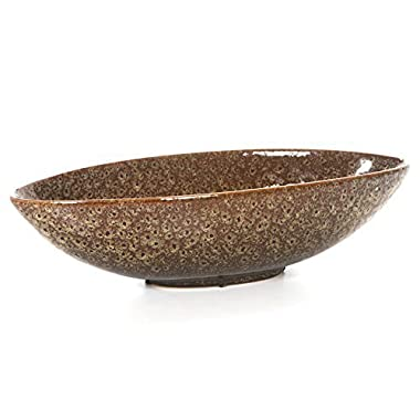 Hosley 15.75  Long Ceramic Bowl, Ideal for Potpourri, Orbs. Ideal Gift for Wedding, Bridal, Party, Home Decor, LED Votive Tea Light Gardens O3