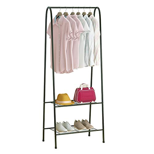 - Fresh Household Freestanding Closet, Double Rod Heavy Duty Garment Rack 2-Tier Metal Hanging Clothes Rack Portable Closet with Bottom Shelves for Shoes Storage - Black