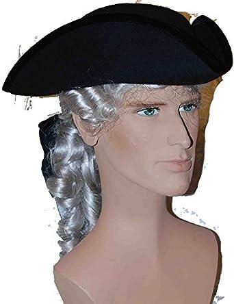 Men's Historical Black Wool Tricorn Pirate Captain Hat Custom Made by Atelier Marega