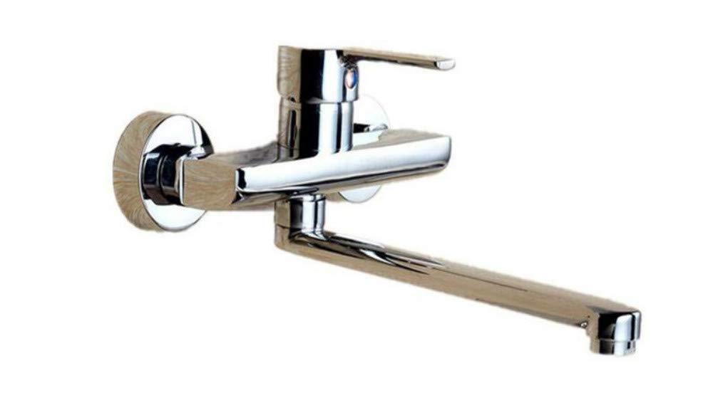 Edelstahlhahn weiße Chrombadhahnmontiert Long Neck Double Hole Kitchen Sink Wasserhahn