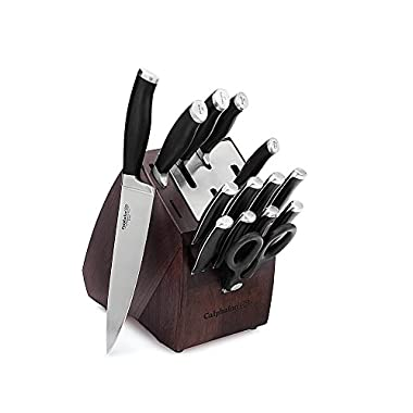 Calphalon 1922971 15 Piece Contemporary Self-Sharpening Cutlery Set with Sharp-In Technology, Black/Silver
